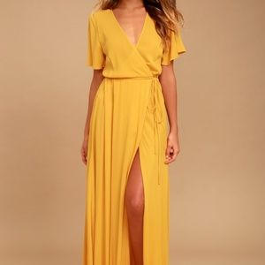 Lulus Much Obliged Golden Yellow Wrap Maxi Dress